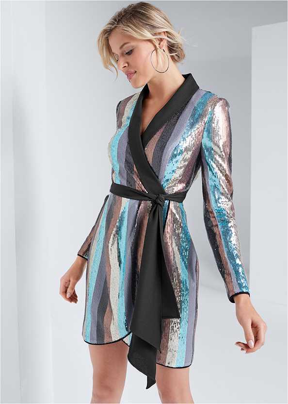 Sequin Wrap Dress,Asymmetrical Strappy Heels