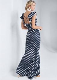 Full back view High Low Polka Dot Dress