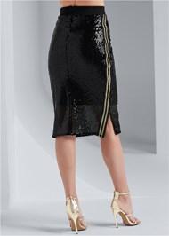 Waist down back view Sequin Midi Skirt