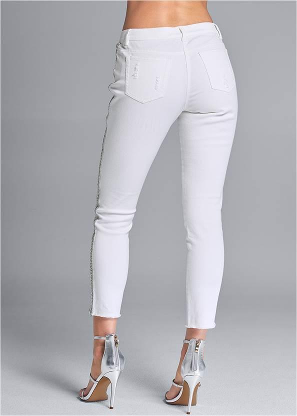Waist down back view Beaded Side Stripe Jeans