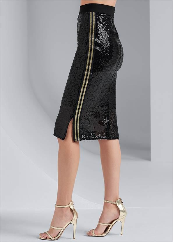 Waist down side view Sequin Midi Skirt