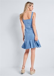 Full back view Ruffle Hem Denim Dress