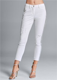 Waist down front view Beaded Side Stripe Jeans