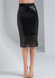 Waist down front view Sequin Midi Skirt