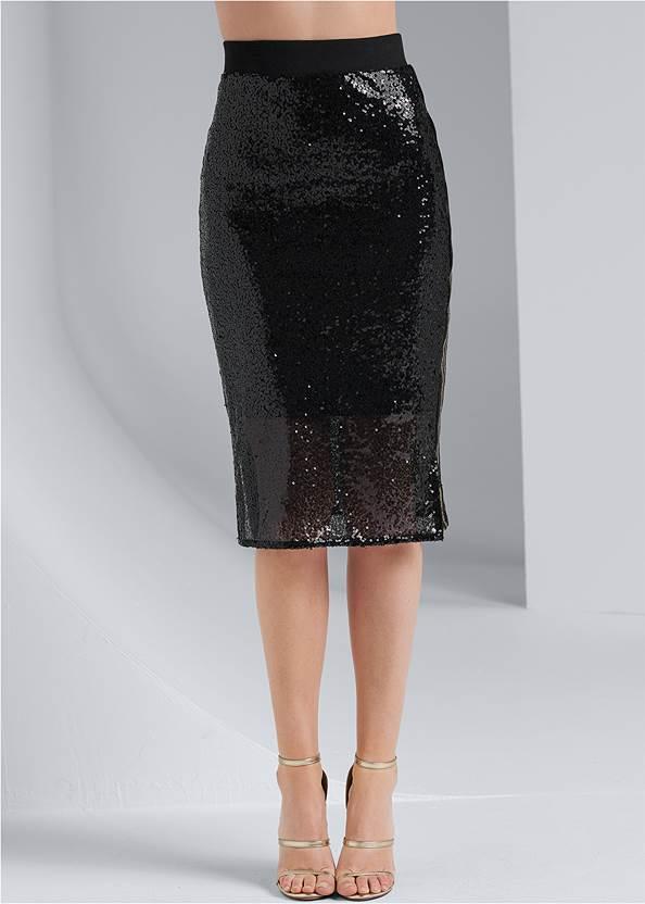 Waist down front view Sequin Midi Skirt