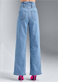 Waist down back view Belted Straight Leg Jeans