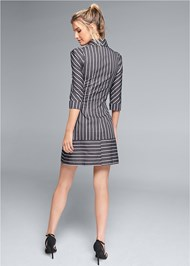 Full back view Striped Cut Out Shirt Dress