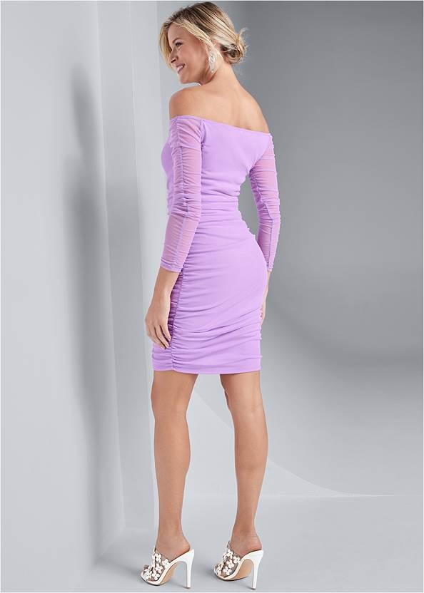 Full back view Off The Shoulder Mesh Dress