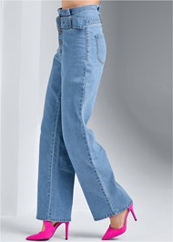 Waist down side view Belted Straight Leg Jeans