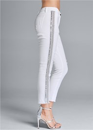 Waist down side view Beaded Side Stripe Jeans