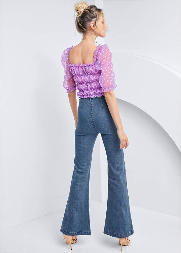 Full back view Organza Puff Sleeve Top