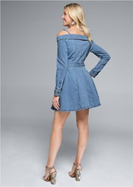 Full back view Button Front Denim Dress