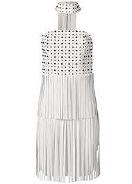 Ghost with background  view Faux Leather Fringe Dress