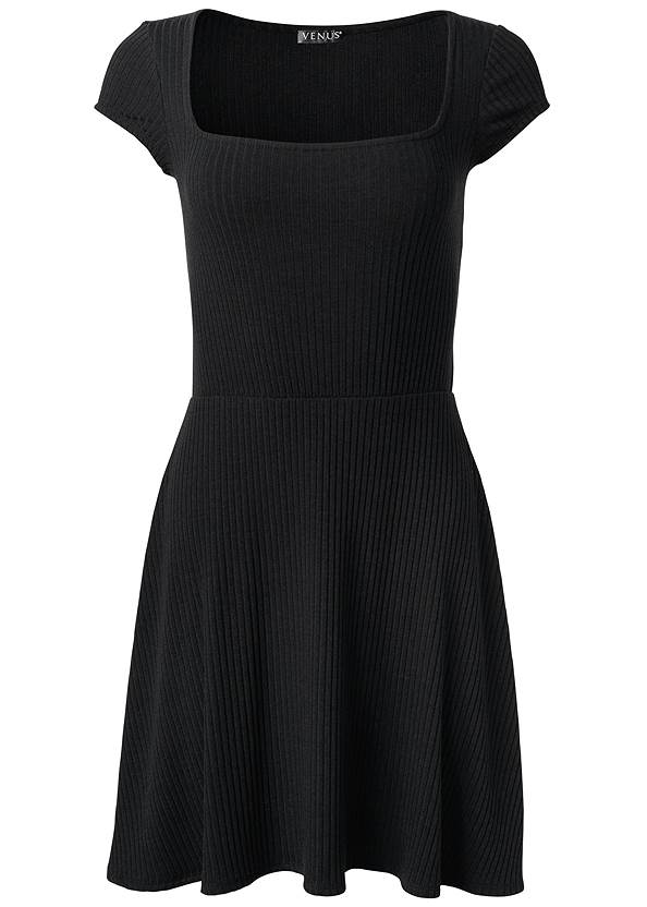 Alternate View Square Neck Ribbed Dress