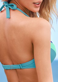 Detail back view Color Block Push Up Halter