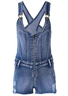 plus size zip front denim overalls