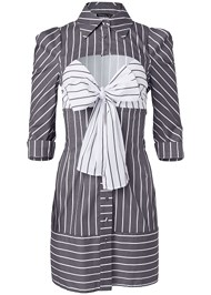 Ghost with background  view Striped Cut Out Shirt Dress