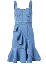 Ghost with background  view Ruffle Hem Denim Dress