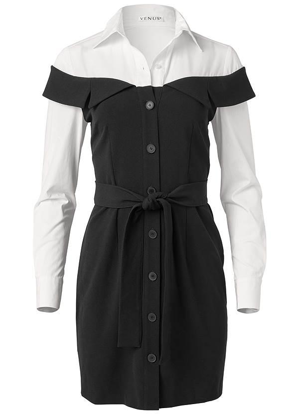 Alternate View Twofer Button Front Dress