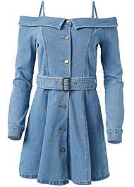 Ghost with background  view Button Front Denim Dress