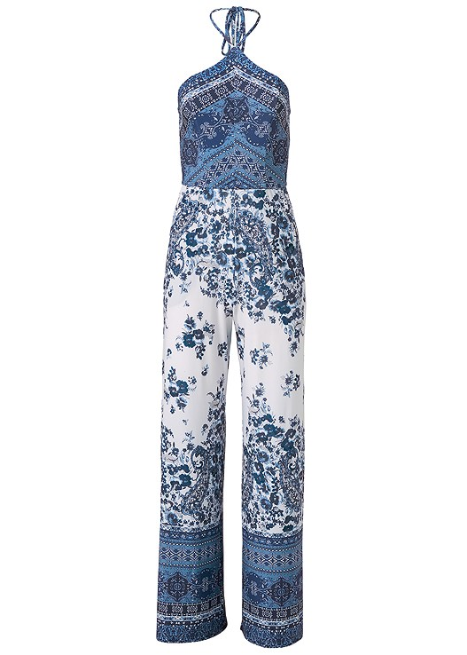 PAISLEY PRINT JUMPSUIT,2PK LACE SHAPING BRIEF,HIGH HEEL STRAPPY SANDALS,HAMMERED METAL BANGLE SET,FRINGE EARRINGS