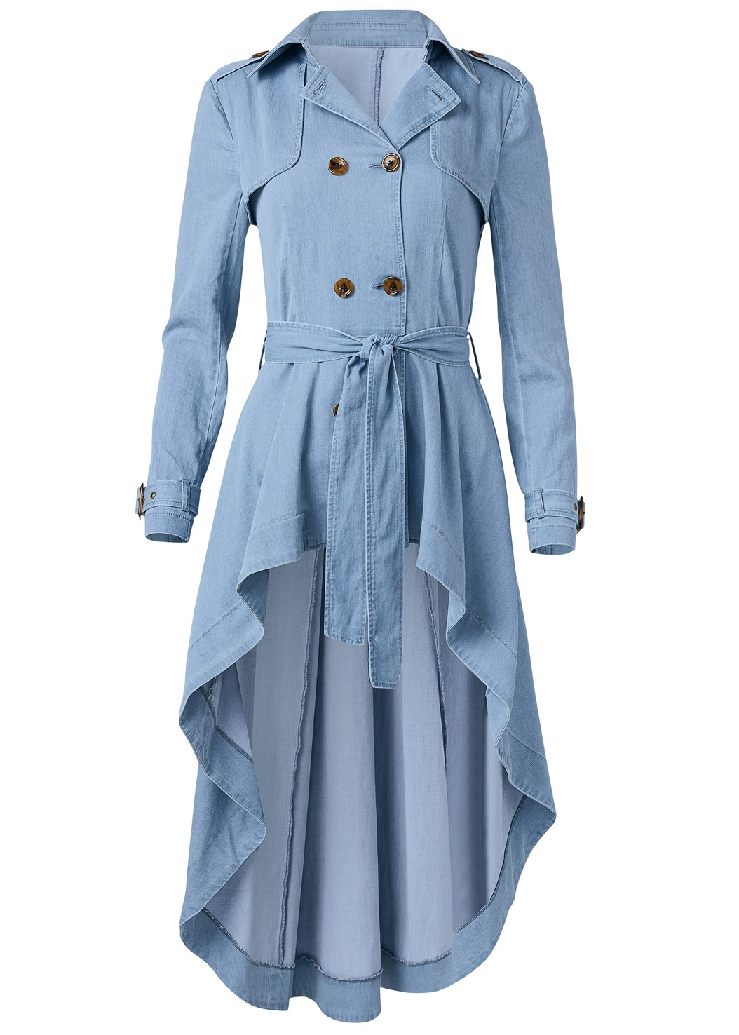 Denim Trench Coat,Mid Rise Slimming Stretch Jeggings,Lucite Detail Print Heels
