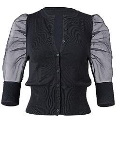 plus size organza puff sleeve sweater