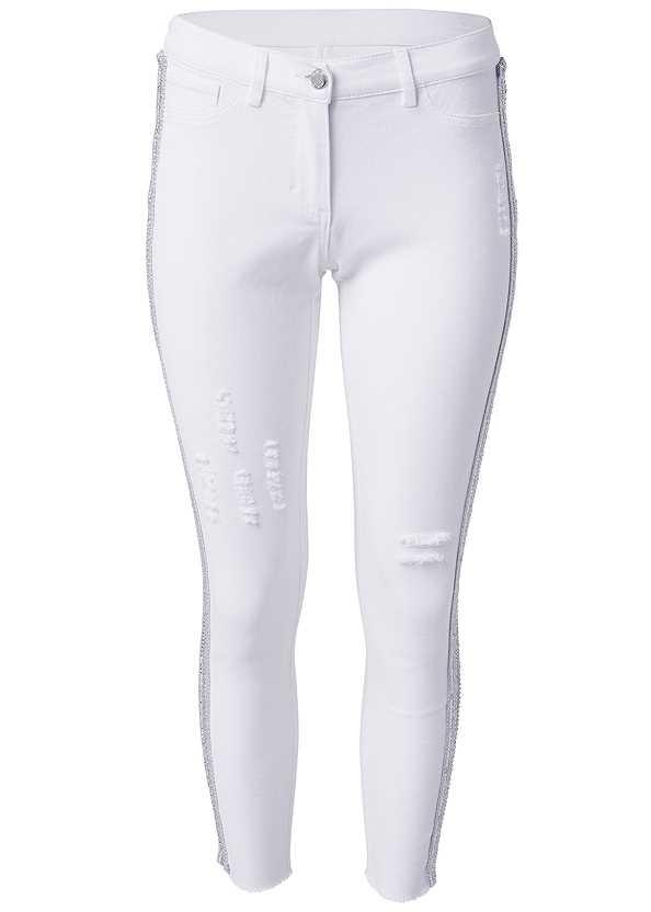 Beaded Side Stripe Jeans,High Heel Strappy Sandals,Tassel Hoop Earrings,Fringe Crossbody,Circular Straw Bag