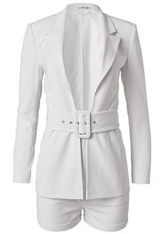 plus size belted short suiting set