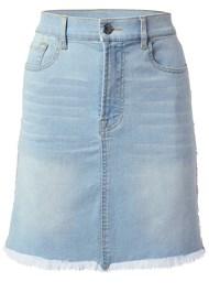 Alternate View Fringe Trim Denim Skirt