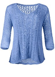 Alternate View High Low Open Knit Sweater