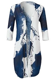 plus size floral print cardigan