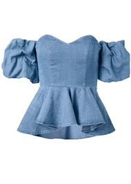 Alternate View Puff Sleeve Chambray Top