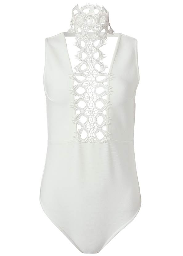 Ghost with background  view Lace Inset Bandage Bodysuit