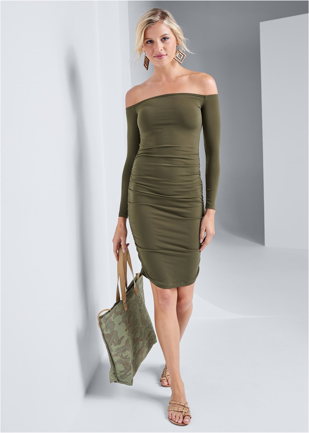 Ruched Off Shoulder Dress,Camo Tote Bag,Wood Earrings