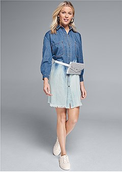 denim ombre shirt dress