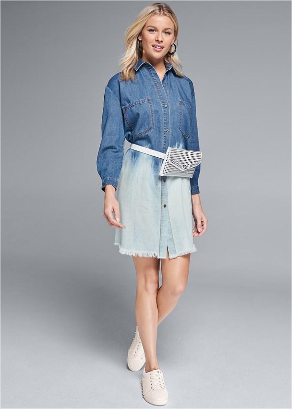 Denim Ombre Shirt Dress,Studded Belt Bag