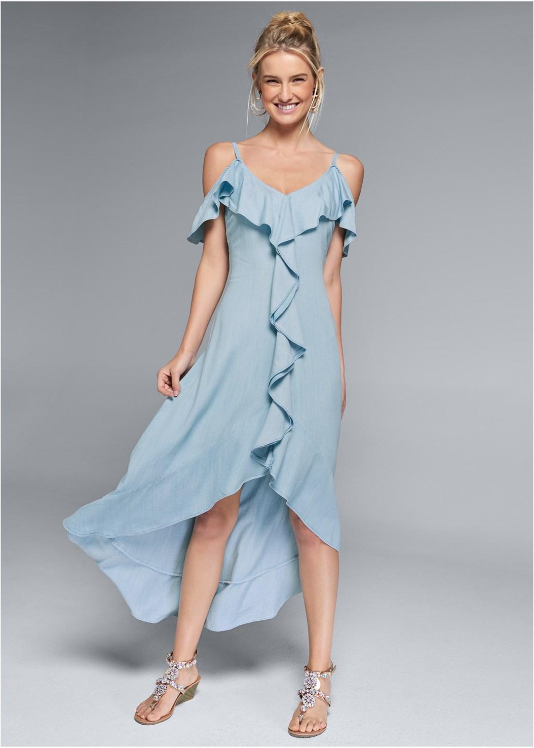 Chambray Dress,Embellished Low Wedges,Beaded Hoop Earrings