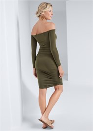 Full back view Ruched Off Shoulder Dress