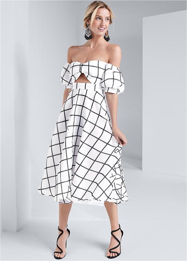 Organza Print Dress,Asymmetrical Strappy Heels