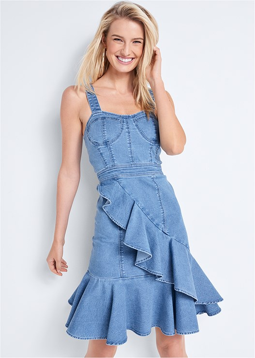 RUFFLE HEM DENIM DRESS,HOOP SET,ROPE STATMENT NECKLACE