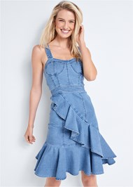 Cropped front view Ruffle Hem Denim Dress