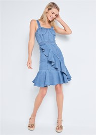 Full front view Ruffle Hem Denim Dress