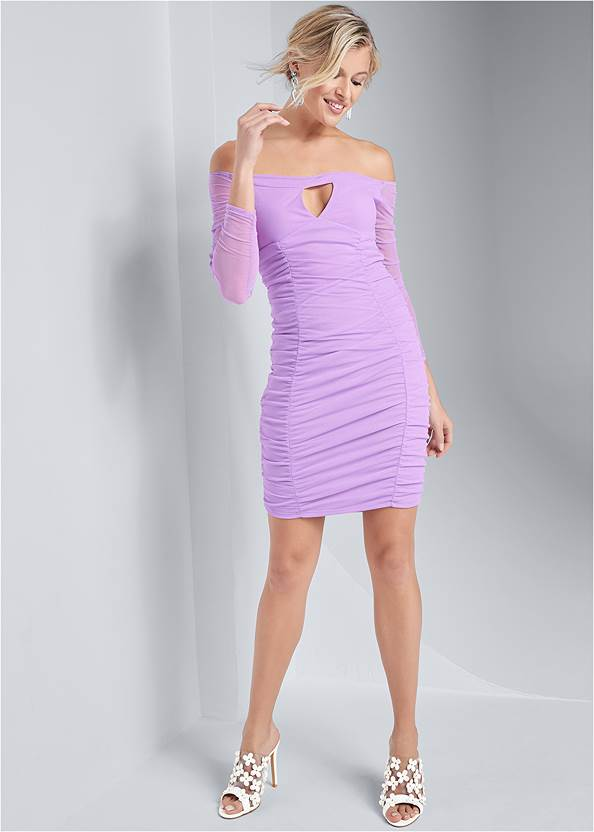 Full front view Off The Shoulder Mesh Dress