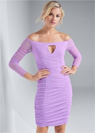 Cropped front view Off The Shoulder Mesh Dress
