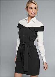 Cropped front view Twofer Button Front Dress