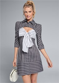 Cropped front view Striped Cut Out Shirt Dress