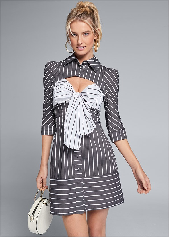 Striped Cut Out Shirt Dress,Strappy Heels,Circle Ring Detail Handbag,Hoop Set