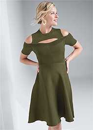 Cropped front view Cold Shoulder Cut Out Dress