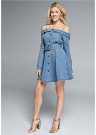 Full front view Button Front Denim Dress